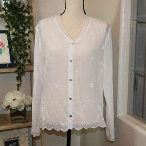 J.jill white button Down shirt